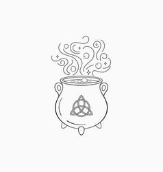 Witch cauldron with bubbling liquid magic symbol vector