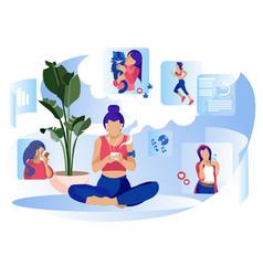 Woman social media daily life metaphor flat banner vector