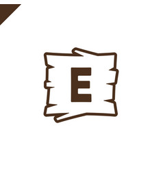 Wooden alphabet or font blocks with letter e vector