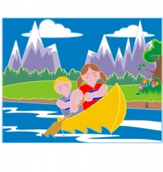 youths in a canoe vector image