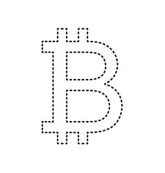 bitcoin sign black dashed icon on white vector image