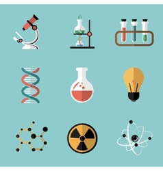 Chemistry science flat icons set vector