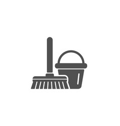 Cleaning bucket with mop simple icon vector