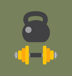 dumbbells stack lined up rack with metal chrome vector image