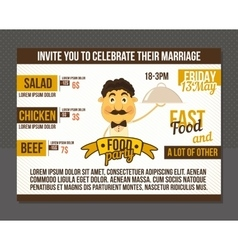 Food party invitation vector image