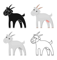 goat icon cartoon single bio eco organic vector image