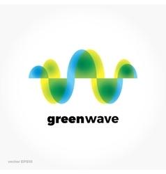 Green sound wave ecological symbol logo Colorful vector image