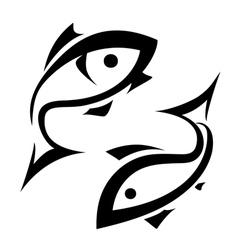 logo-like fish symbol isolated icons set vector image