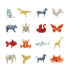 Origami paper animals asian creative art vector