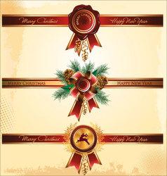 Red wax seal and ribbon vector image