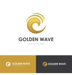 Round golden wave logo vector image vector image