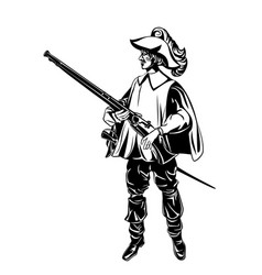 silhouette of an armed musketeer vector image vector image