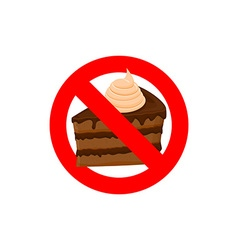 Stop sweets Forbidden cake Red forbidding vector image vector image