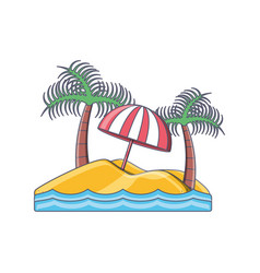 tropical island with palm tree beach vacation vector image vector image