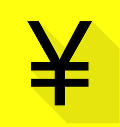 yen sign black icon with flat style shadow path vector image vector image