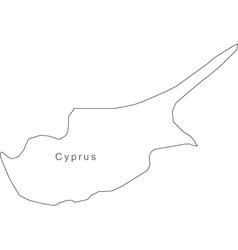 Black White Cyprus Outline Map vector image vector image