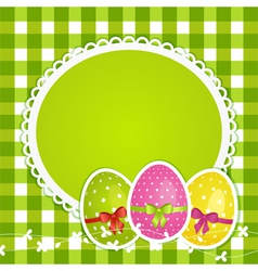 Easter eggs and border on green gingham vector image