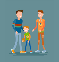 father with son and coach of the sports school vector image