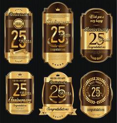 anniversary golden retro vintage labels vector image vector image