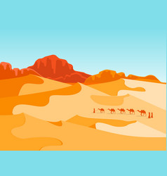 cartoon desert with silhouettes camels and people vector image