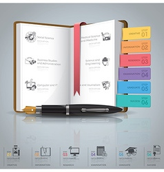 Education And Graduation Infographic With Book vector image