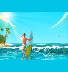 ocean beach athletic man vector image vector image