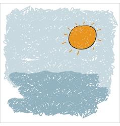 sea waves and rising sun vector image