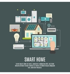 Smart house iot flat icon poster vector image vector image