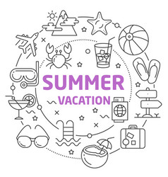 summer vacation linear vector image