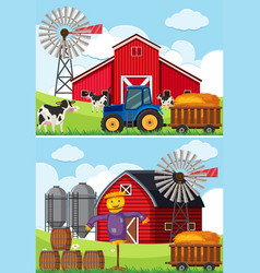 two scenes with tractor and scarecrow in the farms vector image
