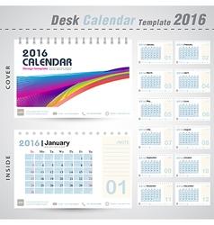 Desk calendar 2016 colorful abstract line design vector image vector image