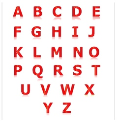 Red alphabet set a to z vector image