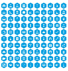 100 craft icons set blue vector