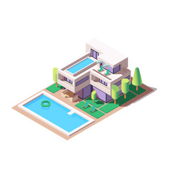 3d isometric big house with modern design and pool vector image