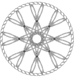 Abstract entwined wheel with octagonal star in vector