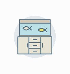 Aquarium on table colorful icon vector