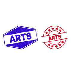 Arts unclean badges in round and hexagonal forms vector