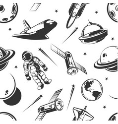 Astronaut space traveling seamless pattern vector
