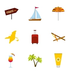 Attractions of Miami icons set flat style vector