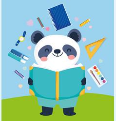 Back to school cute panda reading book education vector