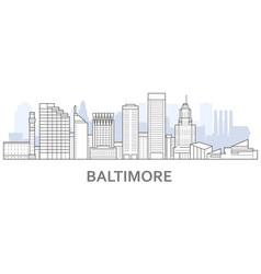 Baltimore skyline maryland - panorama of vector