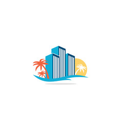 beach hotel building tropic palm tree logo vector image