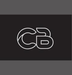 Black and white alphabet letter cb c b logo vector
