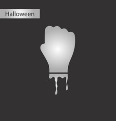 black and white style icon halloween zombie hand vector image
