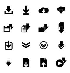 black download icon set vector image