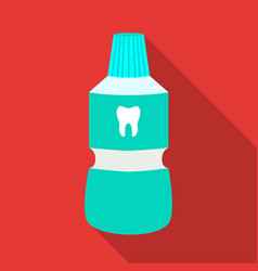 Bottle of mouthwash icon in flat style isolated on vector