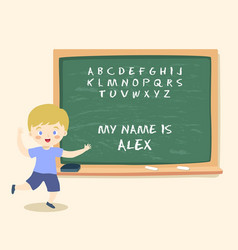 Boy writing blackboard chalk school vector