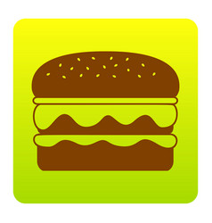 burger simple sign brown icon at green vector image