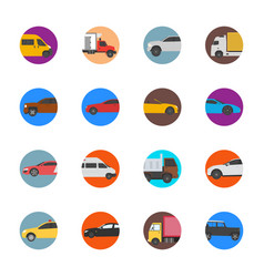 cars and commercial vehicles flat icons vector image