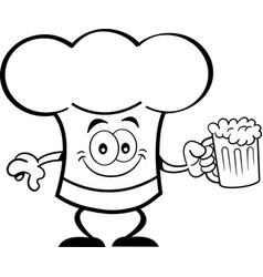 cartoon chef hat holding a beer vector image